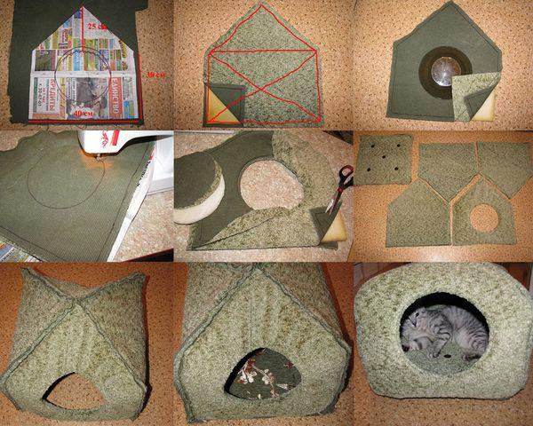 Схема домика из поролона для кошки