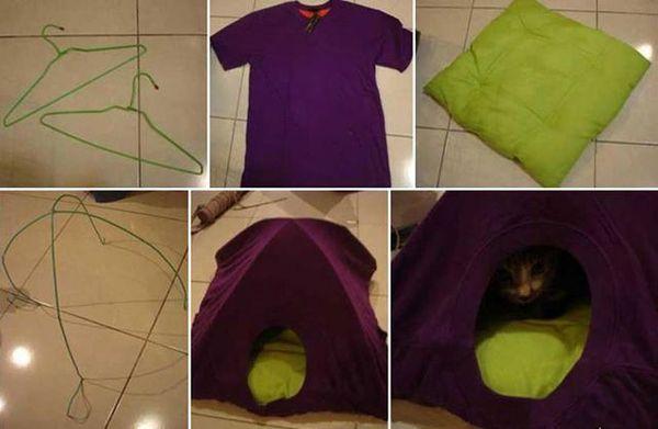 Схема домика из футболки для кошки